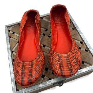 TORY BURCH Snakeskin Leather Eddie Ballet Flats